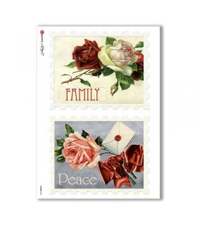 FLOWERS-0292. Papel de Arroz victoriano flores para decoupage.