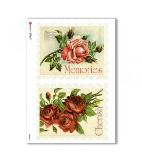 FLOWERS-0293. Carta di riso vittoriana fiori per decoupage.