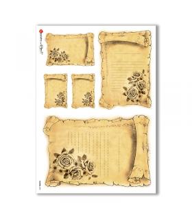 FLOWERS-0295. Carta di riso vittoriana fiori per decoupage.