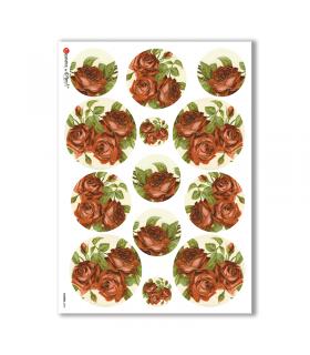 FLOWERS-0296. Papel de Arroz victoriano flores para decoupage.