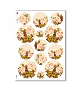 FLOWERS-0297. Papel de Arroz victoriano flores para decoupage.