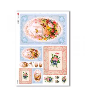 FLOWERS-0298. Carta di riso vittoriana fiori per decoupage.