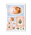 FLOWERS_0298. Carta di riso vittoriana fiori per decoupage.