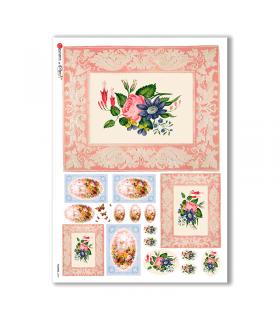 FLOWERS-0299. Carta di riso vittoriana fiori per decoupage.