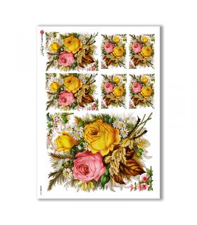 FLOWERS-0300. Carta di riso vittoriana fiori per decoupage.