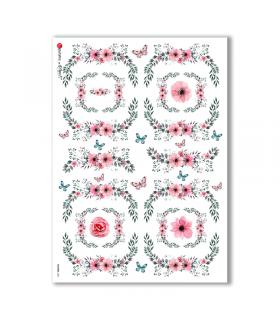 FLOWERS-0301. Carta di riso vittoriana fiori per decoupage.