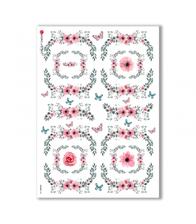 FLOWERS-0301. Papel de Arroz victoriano flores para decoupage.