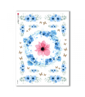 FLOWERS-0302. Carta di riso fiori per decoupage.