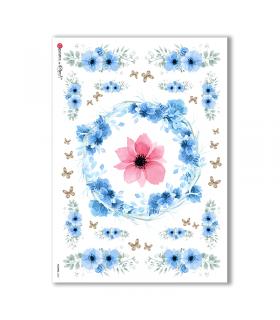 FLOWERS-0302. Papel de Arroz flores para decoupage.