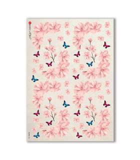FLOWERS-0303. Carta di riso vittoriana fiori per decoupage.