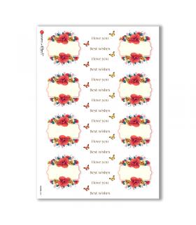 FLOWERS-0304. Carta di riso vittoriana fiori per decoupage.