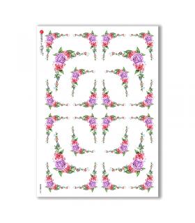 FLOWERS-0305. Papel de Arroz victoriano flores para decoupage.