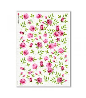 FLOWERS-0307. Carta di riso vittoriana fiori per decoupage.