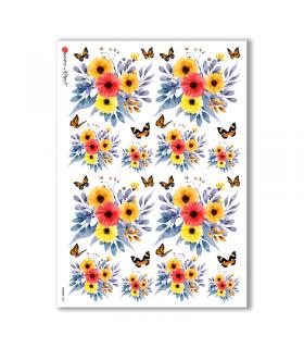 FLOWERS-0308. Papel de Arroz flores para decoupage.