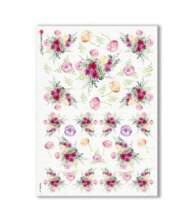 FLOWERS-0309. Carta di riso fiori per decoupage.