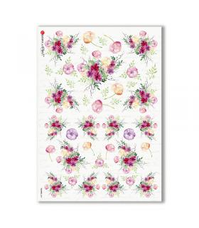 FLOWERS-0309. Papel de Arroz flores para decoupage.