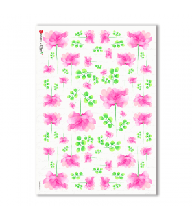 FLOWERS-0311. Papel de Arroz flores para decoupage.