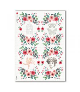 FLOWERS-0312. Papel de Arroz victoriano flores para decoupage.
