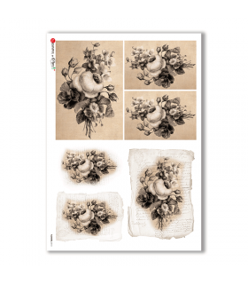 FLOWERS-0313. Carta di riso vittoriana fiori per decoupage.