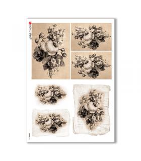 FLOWERS-0313. Papel de Arroz victoriano flores para decoupage.
