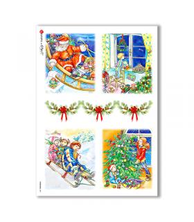 CHRISTMAS-0001. Carta di riso Natale per decoupage.