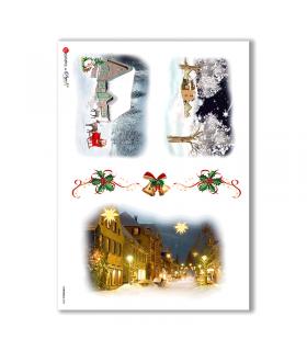 CHRISTMAS-0004. Carta di riso Natale per decoupage.