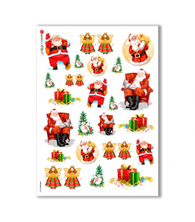 CHRISTMAS-0007. Carta di riso Natale per decoupage.