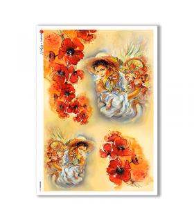 ARTWORK-0011. Carta di riso opere d'arte per decoupage.