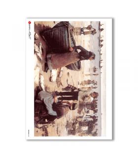 ARTWORK-0024. Papel de Arroz obras de arte para decoupage.