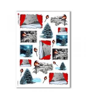 CHRISTMAS-0016. Carta di riso Natale per decoupage.