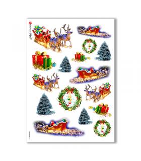 CHRISTMAS-0017. Carta di riso Natale per decoupage.