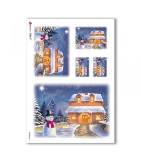 CHRISTMAS-0018. Carta di riso Natale per decoupage.