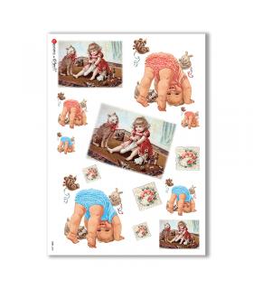 BABY-0048. Papel de Arroz niños para decoupage