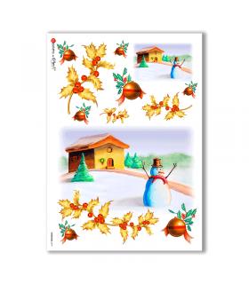 CHRISTMAS-0019. Carta di riso Natale per decoupage.