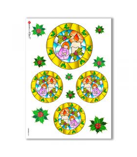 CHRISTMAS-0021. Carta di riso Natale per decoupage.