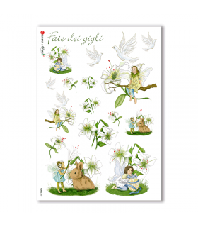 FAIRIES-0002. Carta di riso fate per decoupage.