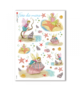 FAIRIES-0005. Carta di riso fate per decoupage.