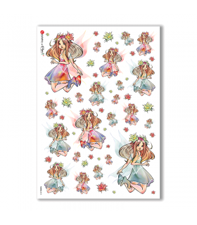 FAIRIES-0015. Carta di riso fate per decoupage.