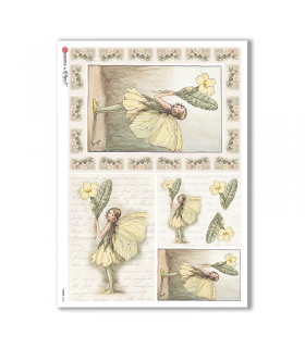 FAIRIES-0048. Carta di riso fate per decoupage.