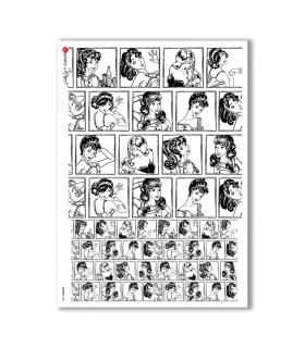 COMICS-0003. Carta di riso fumetti per decoupage.