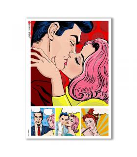 COMICS-0009. Papel de Arroz comics para decoupage.