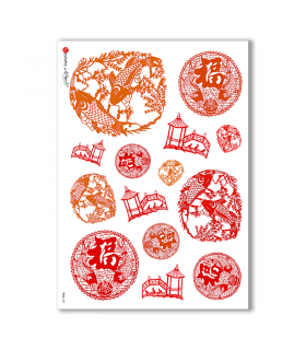 FOLK-0001. Carta di riso etnica per decoupage.