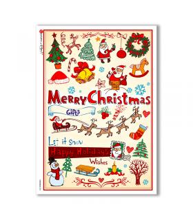 CHRISTMAS-0034. Christmas Rice Paper for decoupage.