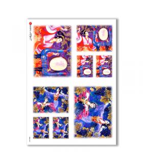 FOLK-0009. Carta di riso etniche per decoupage.