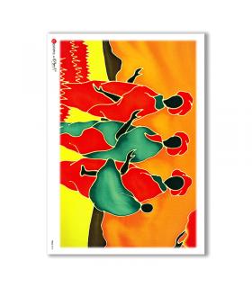 FOLK-0013. Carta di riso etniche per decoupage.