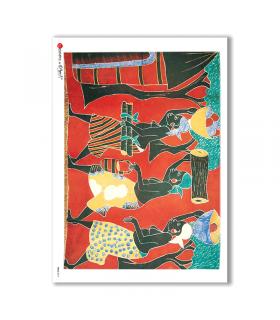 FOLK-0017. Carta di riso etniche per decoupage.
