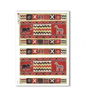 FOLK-0019. Carta di riso etniche per decoupage.