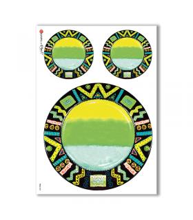FOLK-0025. Carta di riso etniche per decoupage.