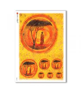 FOLK-0029. Carta di riso etniche per decoupage.