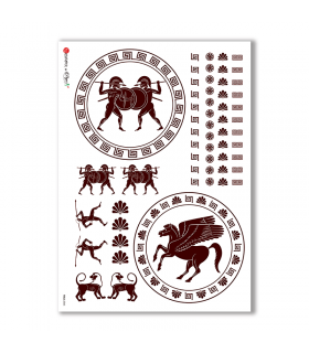 FOLK-0045. Carta di riso etniche per decoupage.